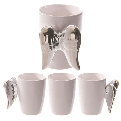 Ceramic White Angel Mug with Silver Wings Handle gift
