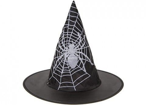 CHILDS NYLON WITCH HAT  WITH SPIDER PRINT