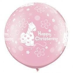 CHRISTENING SOFT PONY 3' PEARL PINK (2CT)