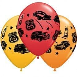 """CLASSIC CARS ON ROUTE 66 11"""" GOLDENROD, RED & ORANGE (25CT)"""