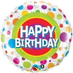 "COLOURFUL DOTS BIRTHDAY 18"" PKT"