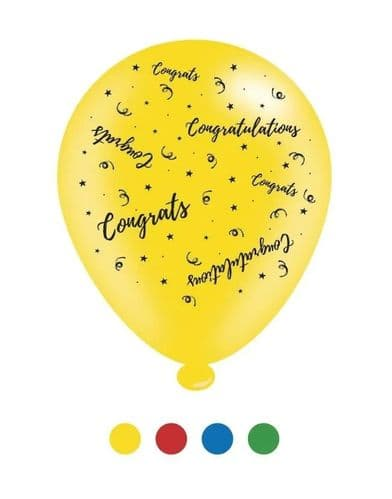 Congratulations Latex Balloons (6 pks of 8 balloons)