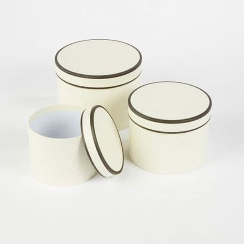Cream & Black Round Couture Hat Box Piping Lined  x 3