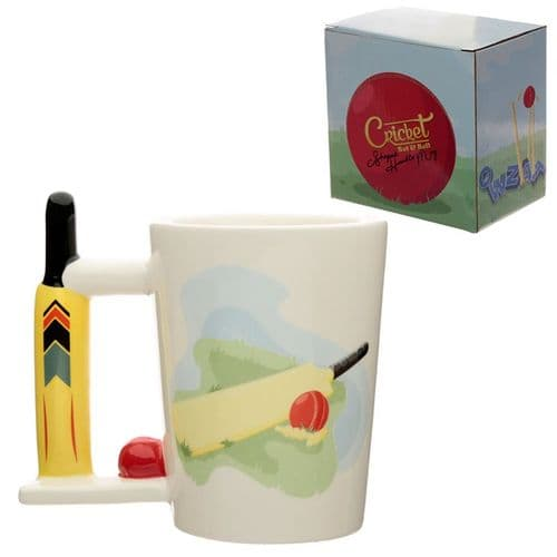 Cricket Bat and Ball Ceramic Shaped Handle Mug gift