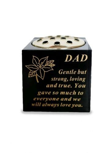 Dad black and gold rose bowl with gold insert.