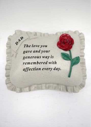 Dad large size red rose memorial pillow.