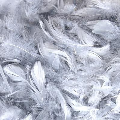 """Eleganza Feathers Mixed sizes 3""""-5"""" 50grm  bag Silver No.24"""