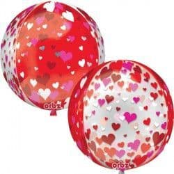 """FLOATING RED & PINK HEARTS ORBZ G20 PKT (15"""" x 16"""")"""