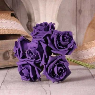 Foam Tea Rose x6 Purple