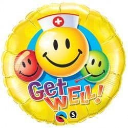 """GET WELL SMILEY FACES 18"""" PKT"""