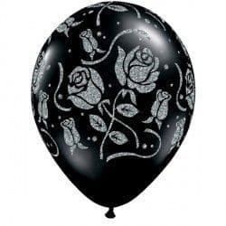 "GLITTER ROSES-A-ROUND 11"" ONYX BLACK (25CT)"