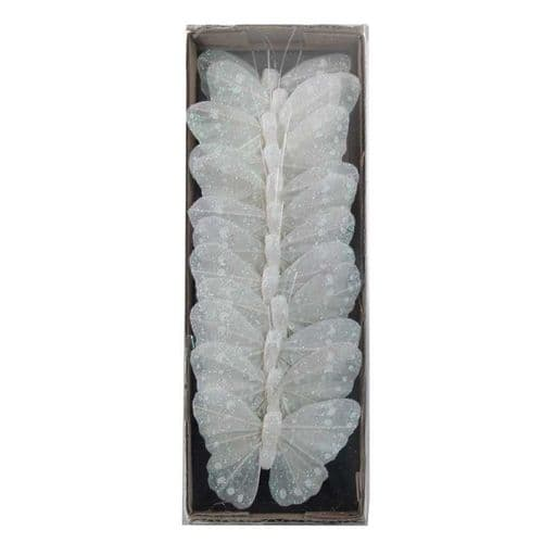 Glittered Feather Butterfly - White 7cm