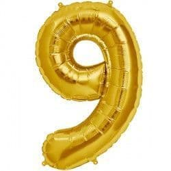 "GOLD NUMBER 9 SHAPE 16"" PKT"