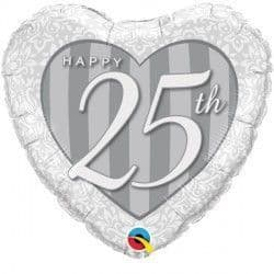 "HAPPY 25TH DAMASK HEART 18"" PKT"