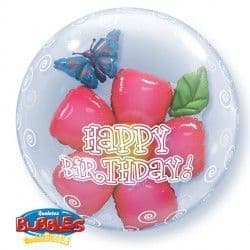 "HAPPY BIRTHDAY LEAVES FLOWER 24"" DOUBLE BUBBLE"