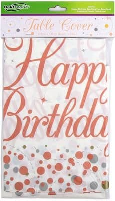 Happy Birthday Sparkling Fizz Rose Gold Plastic TableCover