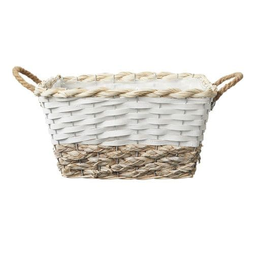 Hawkes Bay  Rectangle White/Natural Lined Basket Set Of 3