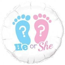 """HE OR SHE? FOOTPRINTS 18"""" PKT"""