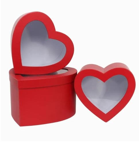 Heart Shaped Trio Of Boxes With Windows