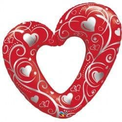"""HEARTS & FILIGREE RED 42"""" SHAPE GROUP C PKT"""