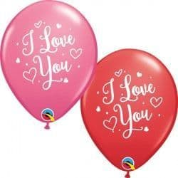 "HEARTS SCRIPT I LOVE YOU 11"" RED & ROSE (25CT)"