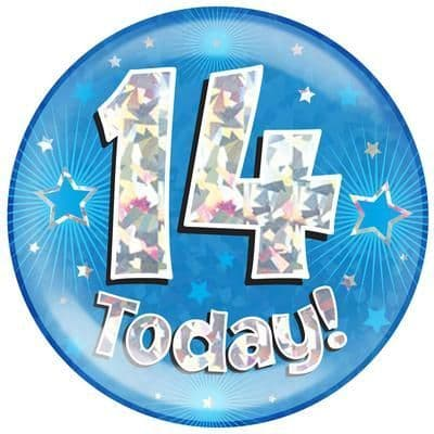 Holographic Jumbo Badge - 14 Today Blue