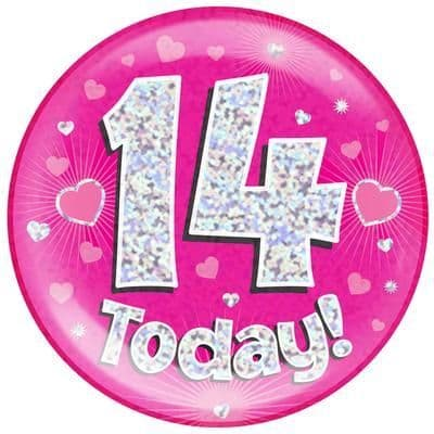 Holographic Jumbo Badge - 14 Today Pink