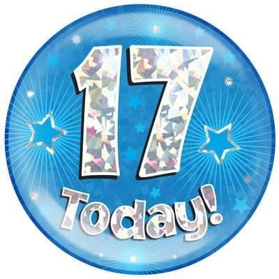 Holographic Jumbo Badge - 17 Today Blue