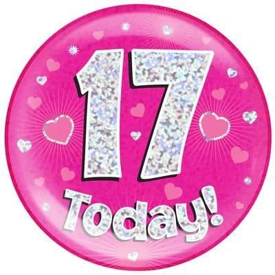 Holographic Jumbo Badge - 17 Today Pink