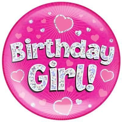 Holographic Jumbo Badge - Birthday Girl