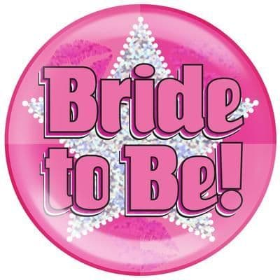 Holographic Jumbo Badge - Bride to Be