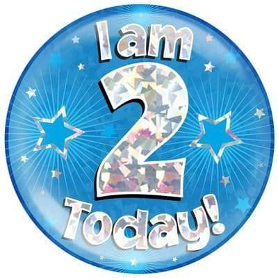 Holographic Jumbo Badge - I am 2 Today Blue