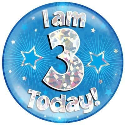 Holographic Jumbo Badge - I am 3 Today Blue