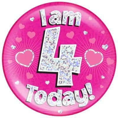 Holographic Jumbo Badge - I am 4 Today Pink