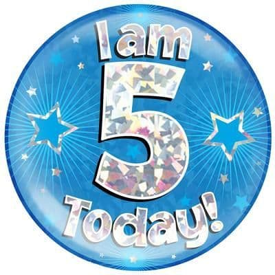 Holographic Jumbo Badge - I am 5 Today Blue