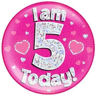 Holographic Jumbo Badge - I am 5 Today Pink