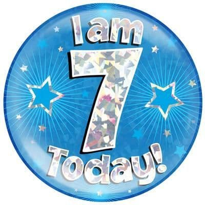 Holographic Jumbo Badge - I am 7 Today Blue