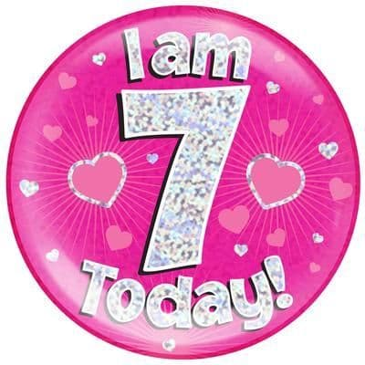 Holographic Jumbo Badge - I am 7 Today Pink