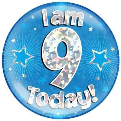 Holographic Jumbo Badge - I am 9 Today Blue
