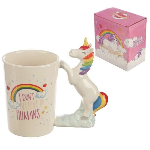 I Don't Believe in Humans Rainbow Unicorn Shaped Handle Mug gift