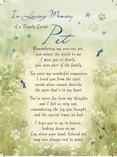 In Loving Memory Of A Dearly Loved Pet