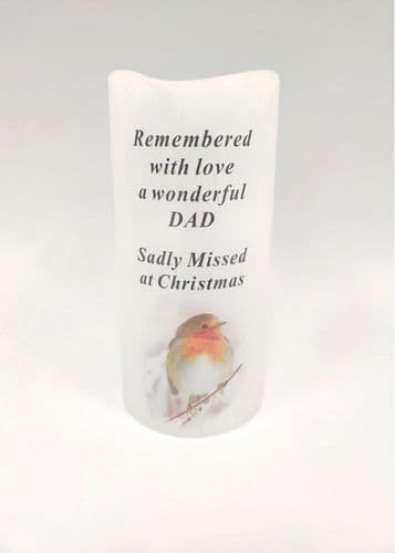 LED FLICKERING ROBIN CANDLE 15CM DAD