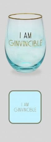 LETS PARTY GLASS COAST & STRAW (GINVINCIBLE) gift