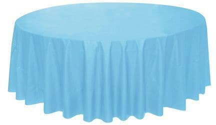 LIGHT BLUE ROUND PLASTIC TABLECOVER