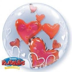 "LOVELY FLOATING HEARTS 24"" DOUBLE BUBBLE"