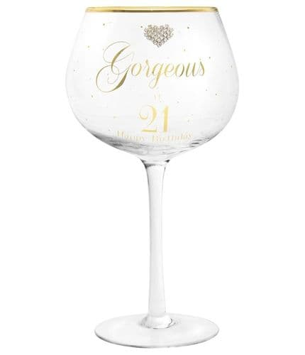 MAD DOTS GIN GLASS HAPPY 21ST gift