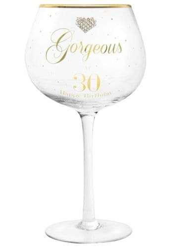 MAD DOTS GIN GLASS HAPPY 30TH gift