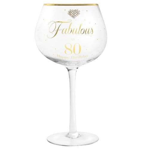 MAD DOTS GIN GLASS HAPPY 80TH gift