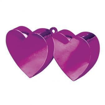 Magenta Double Heart Balloon Weights 170g/6oz - 12 PC