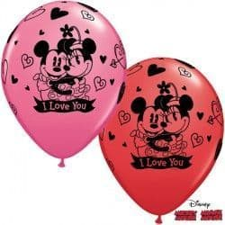 """MICKEY & MINNIE I LOVE YOU 11"""" RED & ROSE (25CT)"""